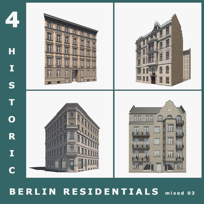 4 historic berlin residentials c4d