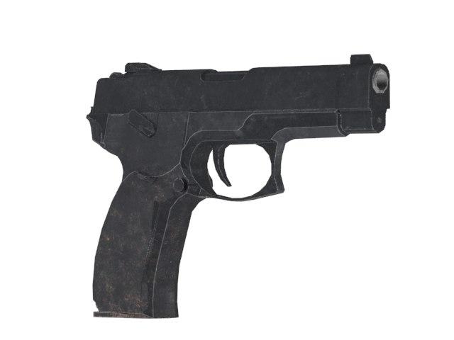 simple pistol 3d max