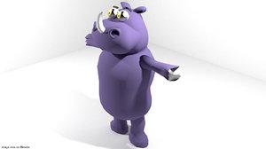 cartoon toon rhino 3ds