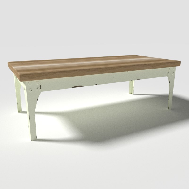 3d wooden coffee table model