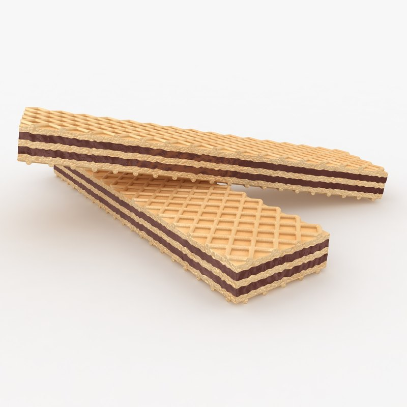 realistic wafer cookie chocolate 3d obj