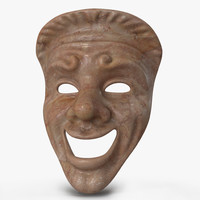 Theatre Comedy Mask Red Marble 3D Model
