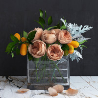 Bouquet of Austin Roses, Kumquat branches and Dusty Miller plant
