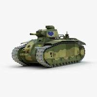 ww2 heavy tank char 3d model