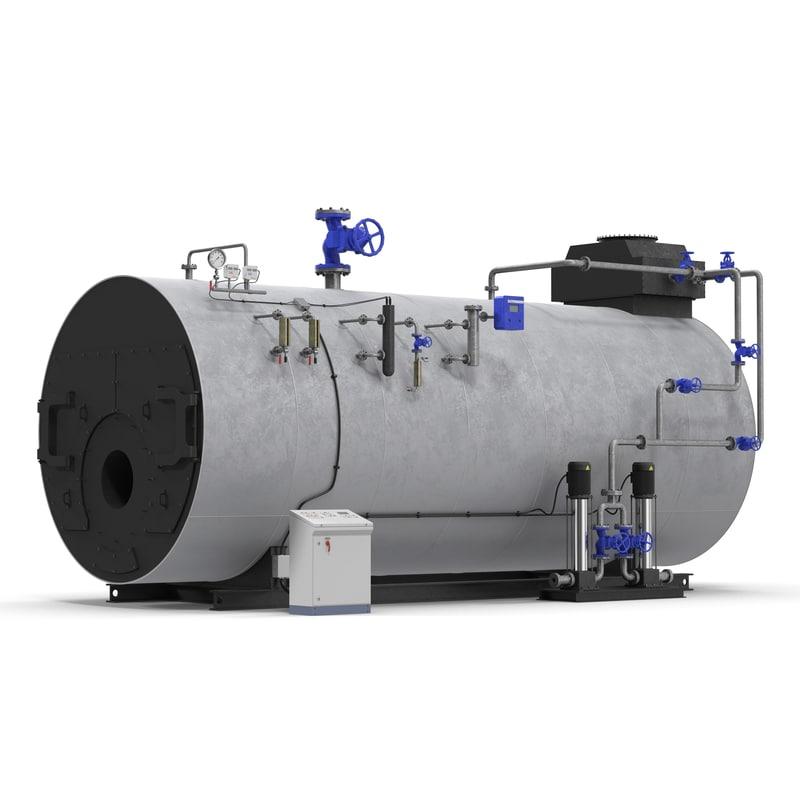 industrial gas steam generator 3d model