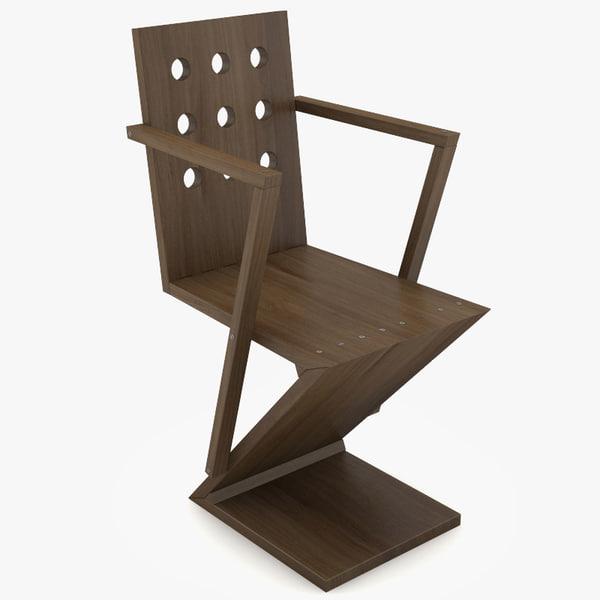 3d model zig-zag chair rietveld