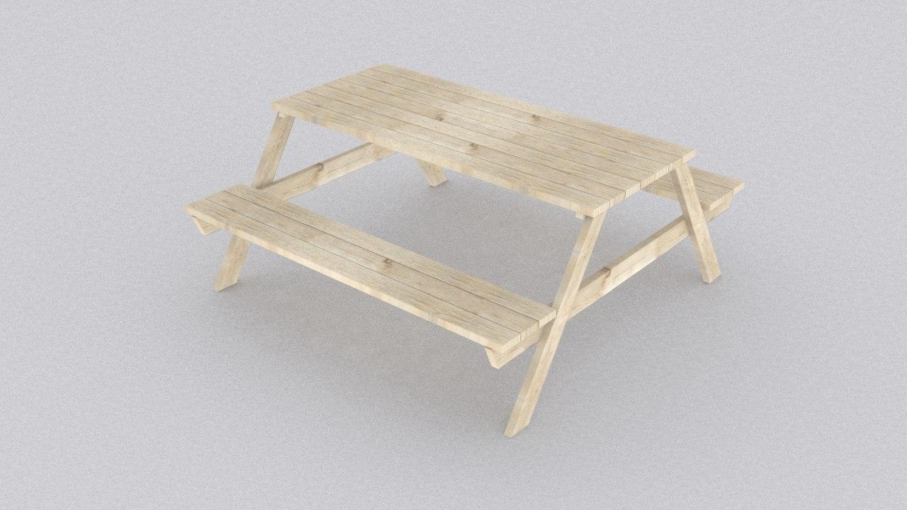 3d model picnic wood table