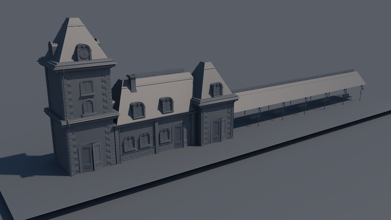 cinema4d railway train station