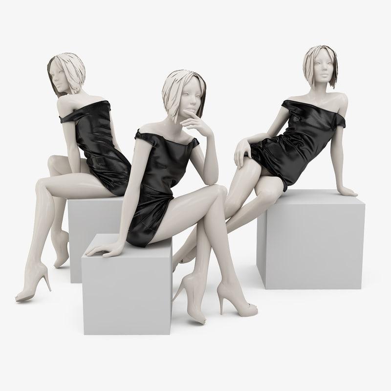 leather dress mannequin 3d max