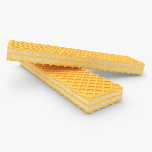 realistic wafer cookie lemon 3d 3ds
