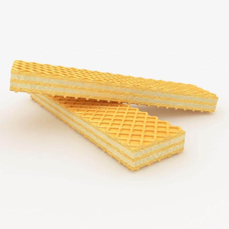 realistic wafer cookie lemon 3d 3ds
