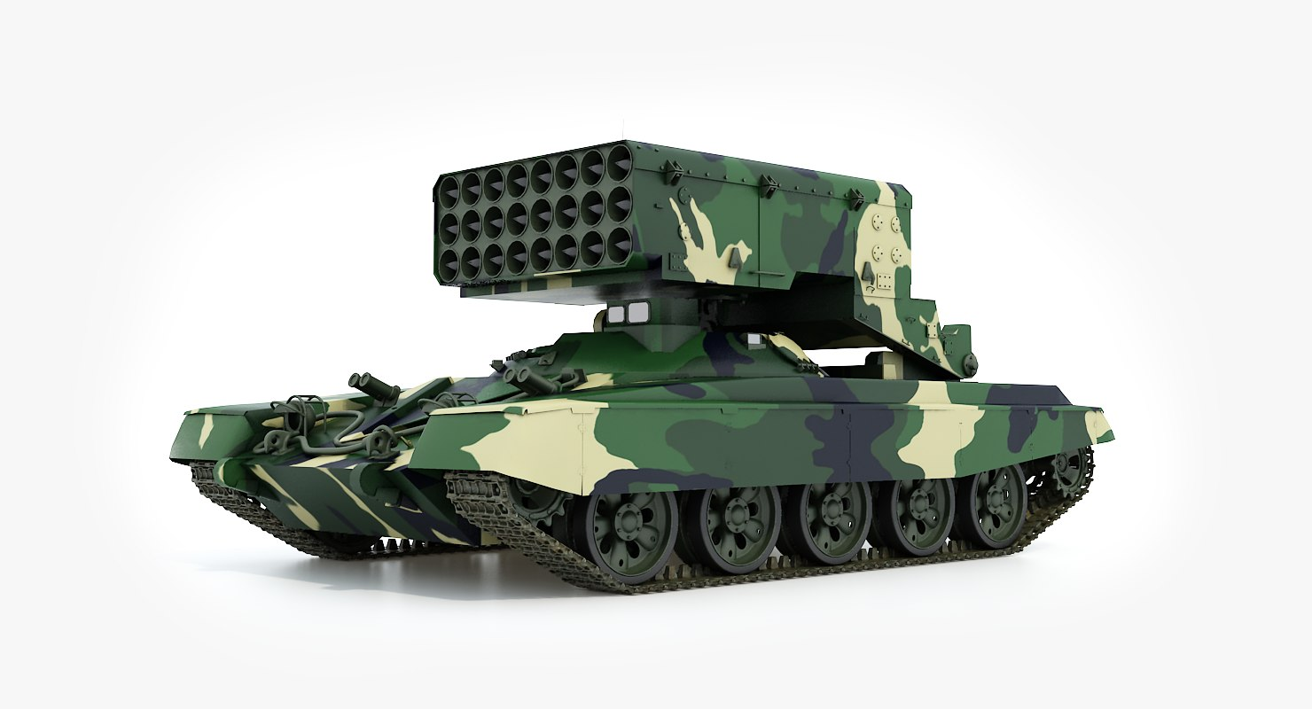 3d model tos-1 buratino rocket launcher