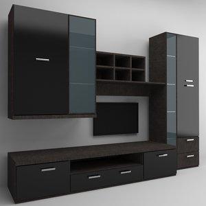 3d wall tv furniture model