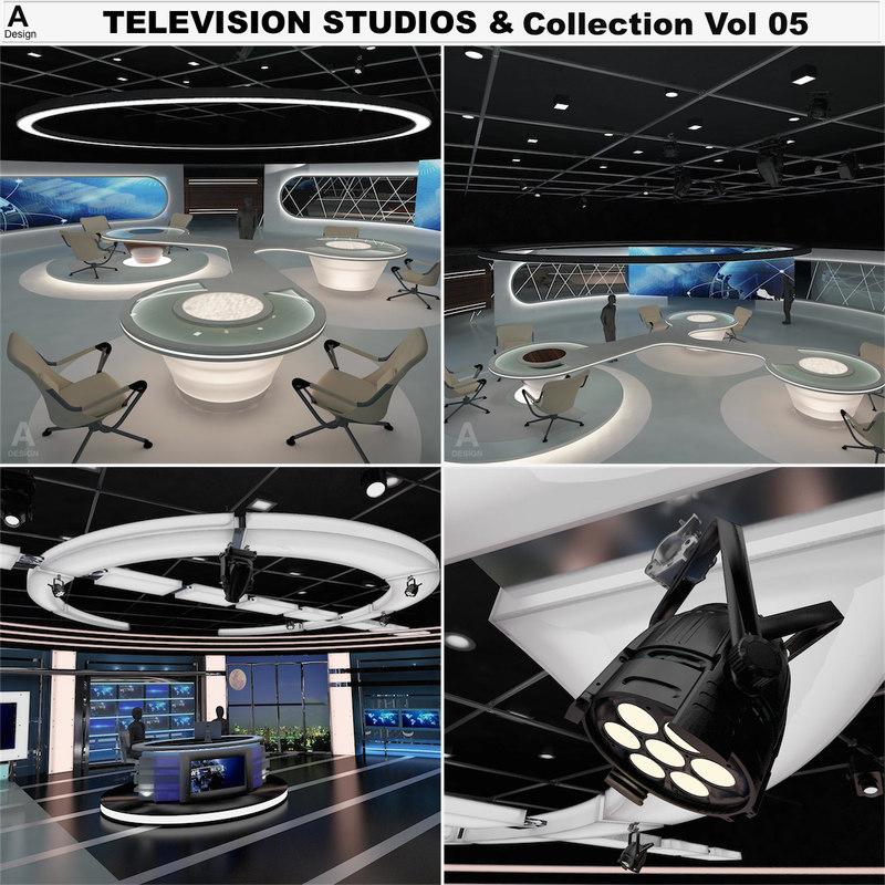 3d model virtual tv studio news sets