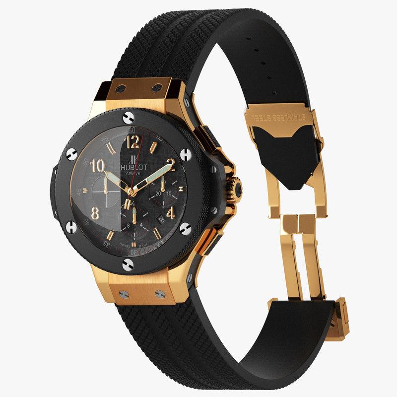 wrist watches hublot big 3d model
