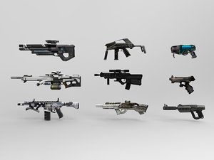 3d futuristic weapons model