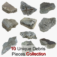 Realistic Stone Debris Piece Collection 01 highway road tarmac