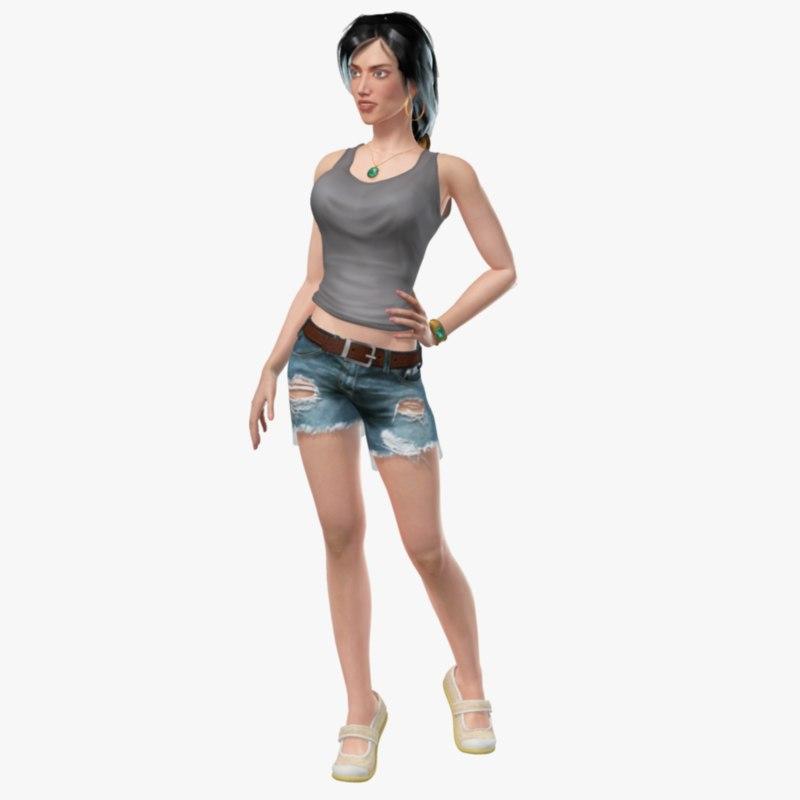 3d model rigged girl
