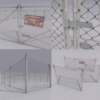 3d chain link fence metal