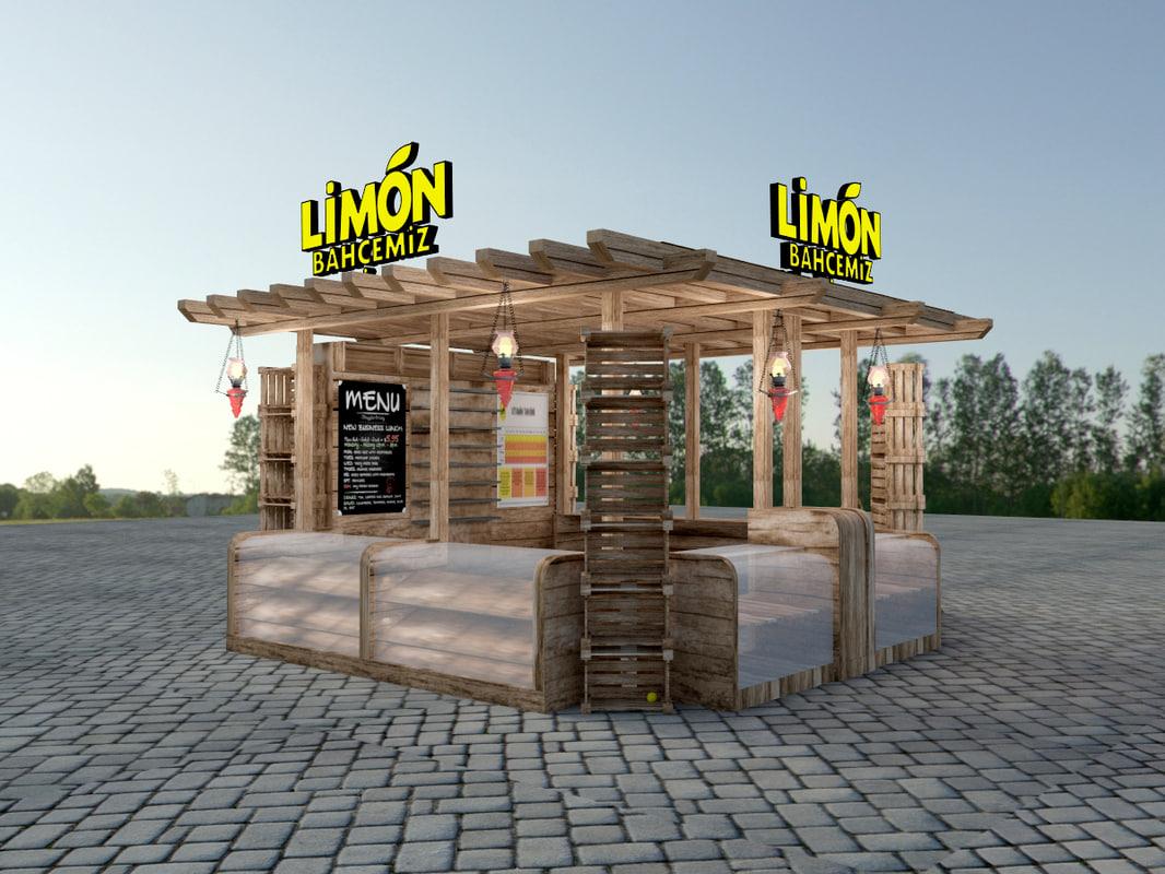 wooden kiosk 3d model