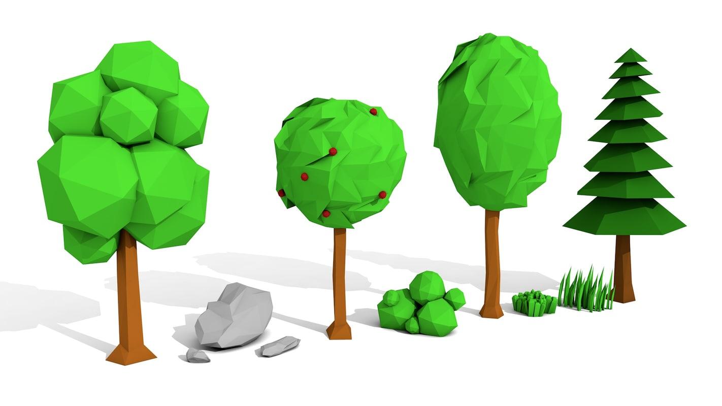trees rocks grasses 3d model