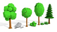 trees rocks grasses 3d model