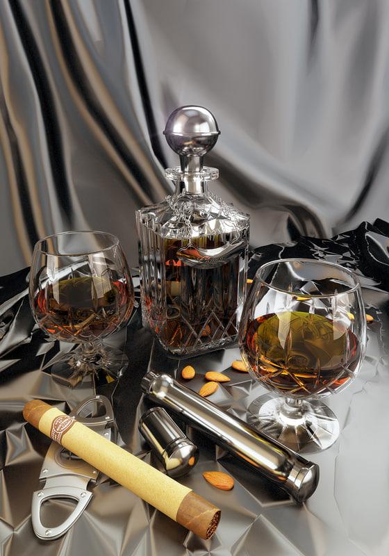 3d model of set cognac