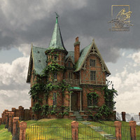 Run-down victorian terra cotta mansion