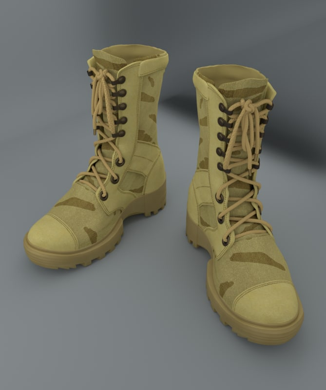 obj modelled military boots