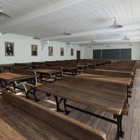 vintage lecture auditorium 3d model