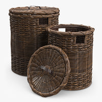 3d wicker laundry basket rattan