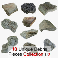 Realistic Stone Debris Piece Collection 02 highway road tarmac