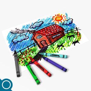 crayon drawings stationery 3d max