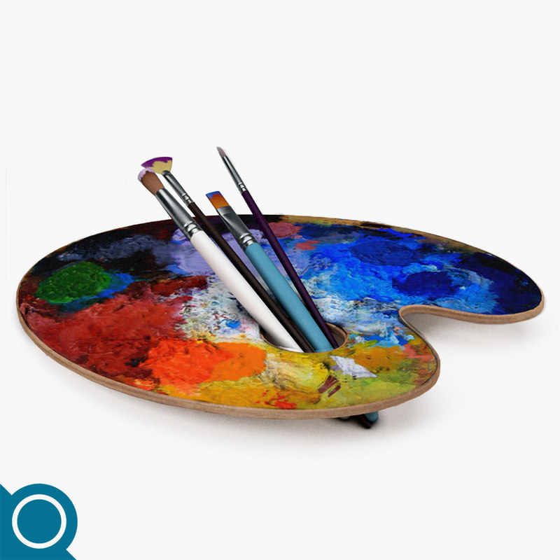 3d brush palette model