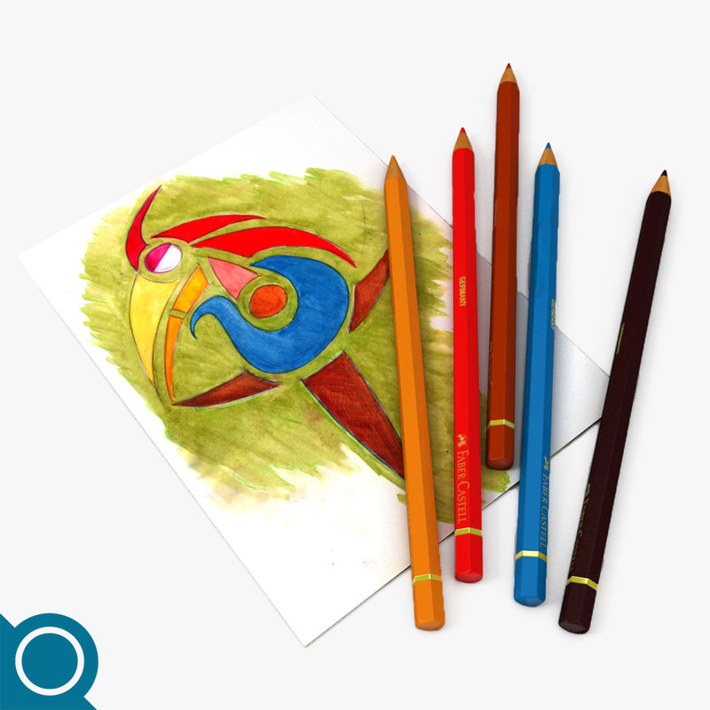 pencil drawings stationery 3d max