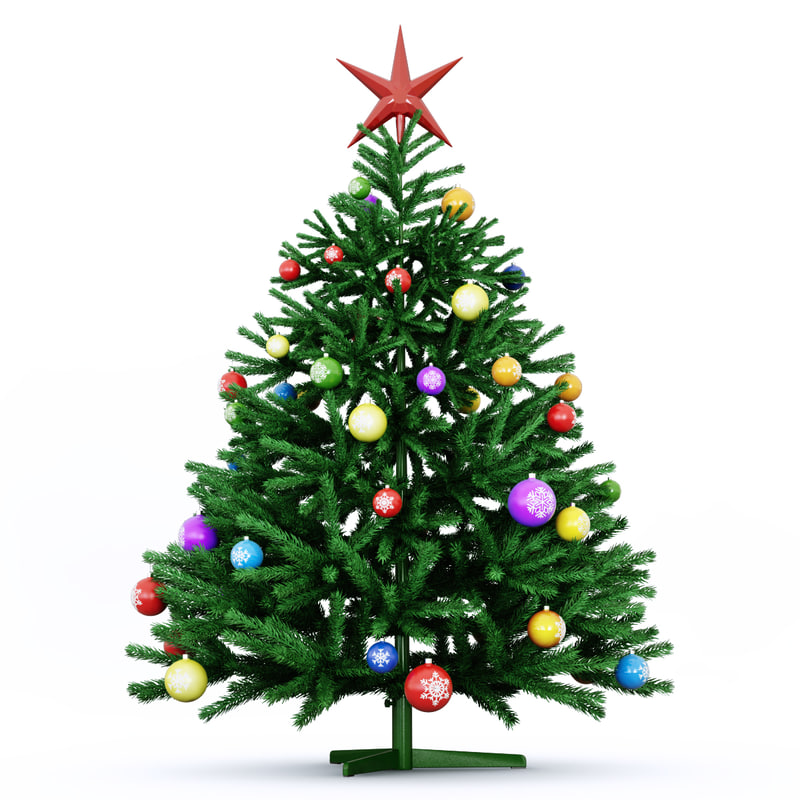 3d model green christmas tree