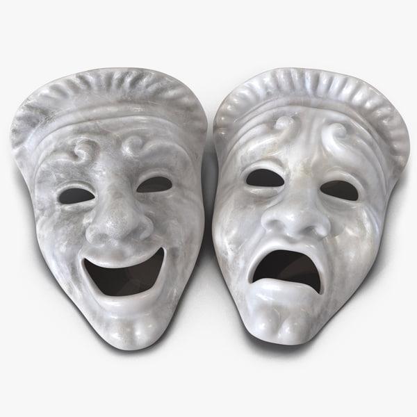 theatre masks set white marble 3d obj