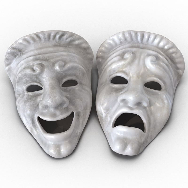 theatre masks set white marble 3d obj