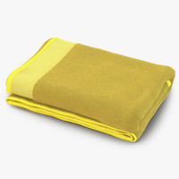 towel yellow fur 3d model
