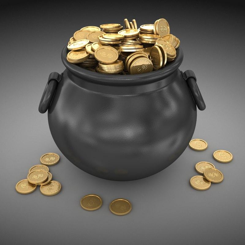 3d model pot gold coin