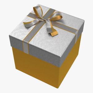 3d giftbox 3 yellow model