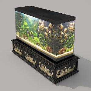 3d model interior aquarium oriental style