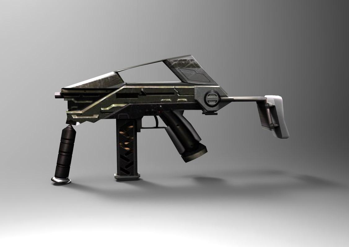 3d model of modern gun