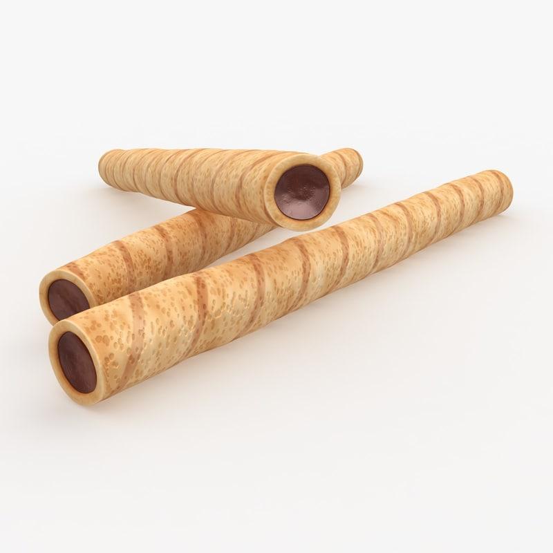 realistic wafer rolls hazelnut 3d obj