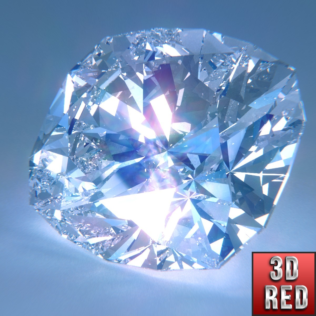 diamond cushion cut 3d obj