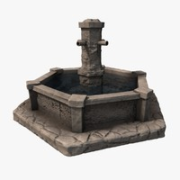 stone fountain water 3d max