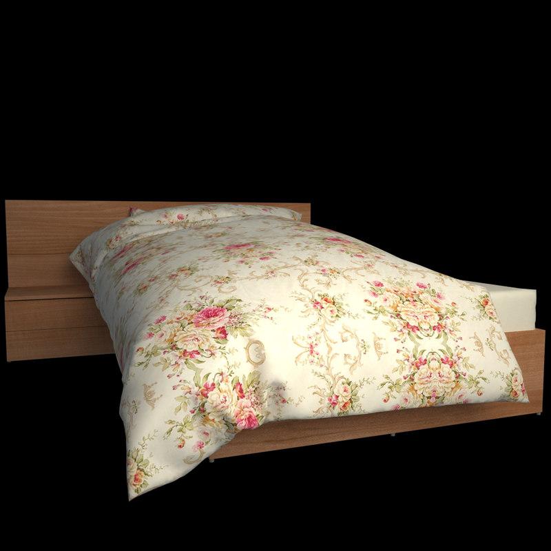 3d v-ray bed mattress pillow