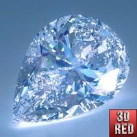 3d model diamond pear cut