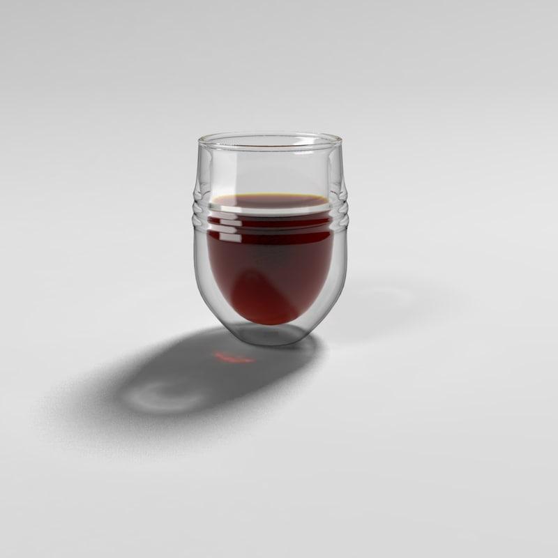 wine glass double walls 3d model