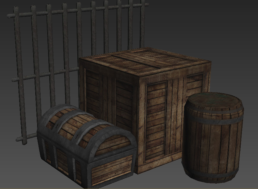 3d model of contains chest crate